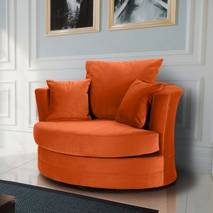 Velvet Pumpkin Orange Chelsea Cuddle Chair