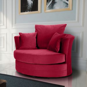 Velvet Scarlet Red Chelsea Cuddle Chair
