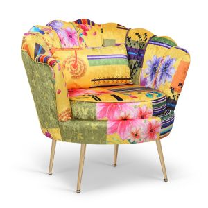Fabric Gold Patchwork 1 Seater Daisy Sofa