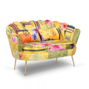 Fabric Gold Patchwork 2 Seater Daisy Sofa