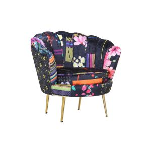 Fabric Black Patchwork Daisy Accent Chair