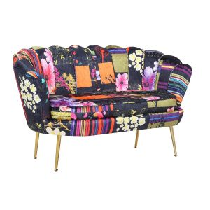 Fabric Black Patchwork 2 Seater Daisy Accent Chair