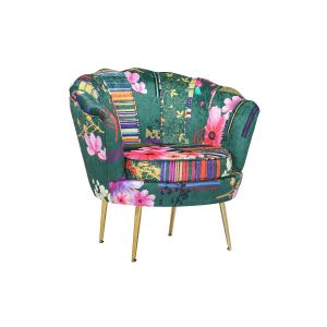 Fabric Green Patchwork Daisy Accent Chair