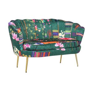 Fabric Green Patchwork 2 Seater Daisy Accent Chair