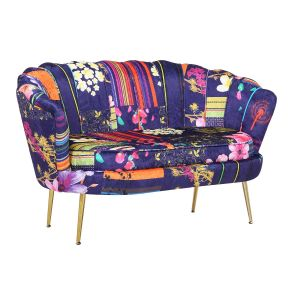 Fabric Navy Patchwork 2 Seater Daisy Accent Chair