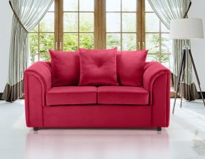 Velvet Scarlet Red 2 Seater Dorchester Sofa