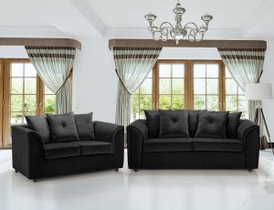 Velvet Black 3 + 2 Dorchester Sofa Set