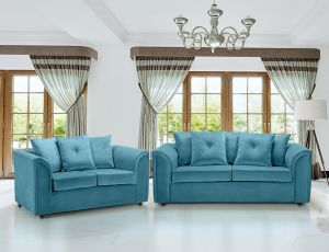 Velvet Cerulean Blue 3 + 2 Dorchester Sofa Set