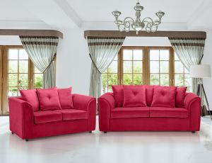 Velvet Scarlet Red 3 + 2 Dorchester Sofa Set