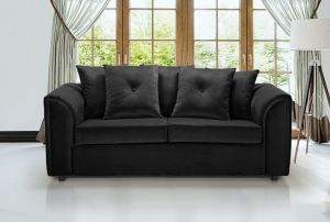 Velvet Black 3 Seater Dorchester Sofa