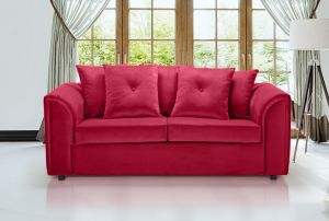 Velvet Scarlet Red 3 Seater Dorchester Sofa