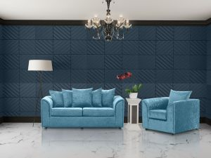 Crushed Velvet Aqua Blue 3 + 1 Dorchester Sofa Set