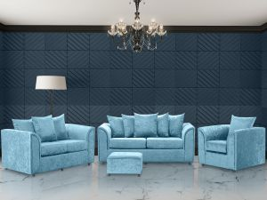 Crushed Velvet Aqua Blue 3 + 2 + 1 Dorchester Sofa Set