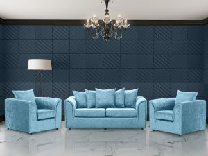 Crushed Velvet Aqua Blue 3 + 1 + 1 Dorchester Sofa Set