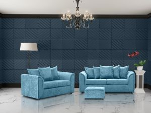 Crushed Velvet Aqua Blue 3 + 2 Dorchester Sofa Set