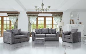 Crushed Velvet Silver 3 + 2 + 1 Dorchester Sofa Set