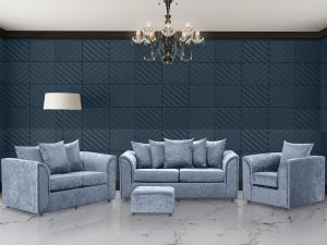 Crushed Velvet Denim Blue 3 + 2 + 1 Dorchester Sofa Set