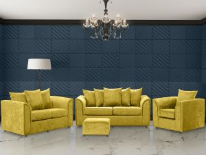 Crushed Velvet Gold 3 + 2 + 1 Dorchester Sofa Set