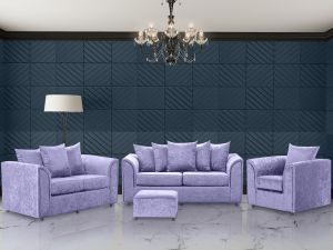 Crushed Velvet Lavender 3 + 2 + 1 Dorchester Sofa Set