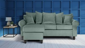 Velvet Duck Egg Green St Moritz Corner Sofa With Reversible Chaise