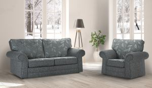 Fabric Grey 3 + 1 Dundee Sofa With Silver Leaves