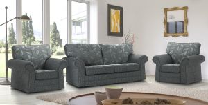 Fabric Grey 3 + 1 + 1 Dundee Sofa With Silver Leaves