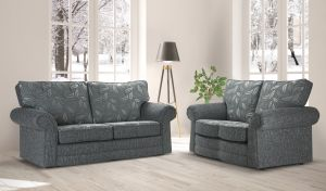 Fabric Grey 3 + 2 Dundee Sofa With Silver Leaves