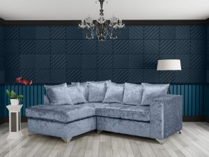 Crushed Velvet Denim Blue 1c2 Enfield Corner Sofa With Scatter Cushions