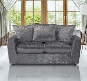 Crushed Velvet Silver 3 Seater Eton Sofa Bed With Mattress