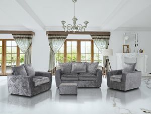 Crushed Velvet Silver 3 + 2 + 1 Eton Sofa Set