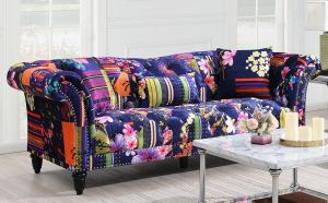 Fabric Navy Patchwork Chesterfield 3 Seater Fitzrovia Sofa