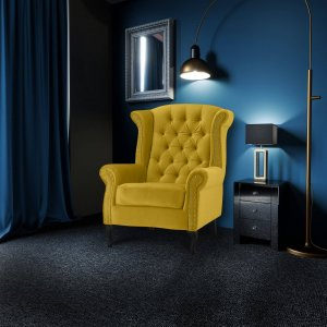 Velvet Wing Back Fireside Chair / Armchair with Buttons Citrus Yellow