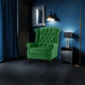 Velvet Wing Back Fireside Chair / Armchair with Buttons Emerald Green