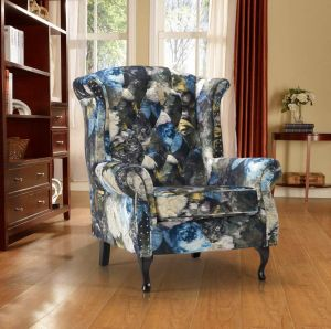 Velvet Green Floral Chesterfield Wing Back Chair