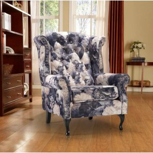 Velvet Grey Floral Chesterfield Wing Back Chair