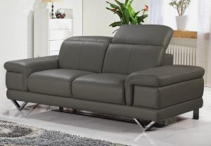 Genuine Leather Grey 2 Seater Loreto Sofa
