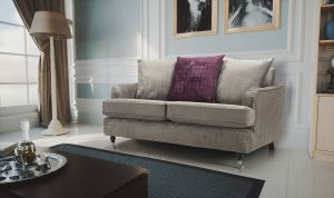 Velvet Grey Astbury Bella Sofa with Scatter Cushions