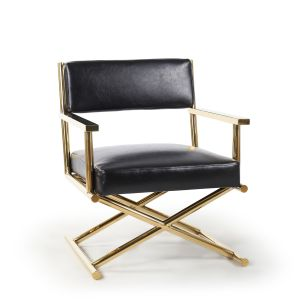 Genuine Leather Black Hollywood Director's Chair with Gold Legs