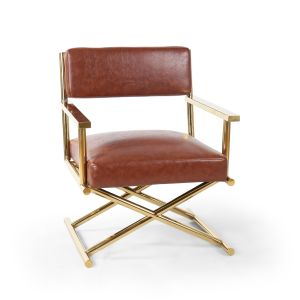 Genuine Leather Brown Hollywood Director's Chair with Gold Legs