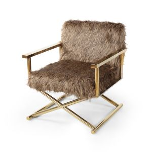 Faux Fur Hollywood Director's Chair with Gold Legs