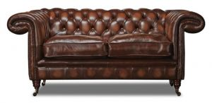 Leather Chesterfield Brown 2 Seater Holmes Sofa