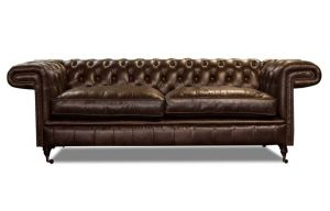 Leather Chesterfield Brown 3 Seater Holmes Sofa