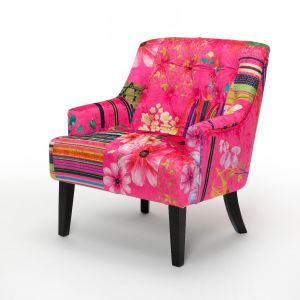 Fabric Pink Patchwork Accent Chair