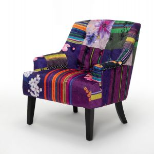 Fabric Patchwork Lydia Accent Chair