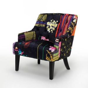 Fabric Black Patchwork Lydia Accent Chair
