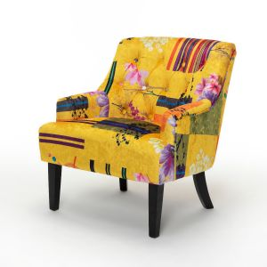 Fabric Gold Patchwork Lydia Accent Chair