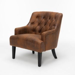 Leather Air Brown Lydia Accent Chair