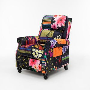 Fabric Black Patchwork Mary Recliner Chair