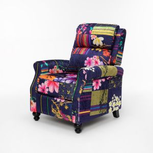 Fabric Navy Patchwork Mary Recliner Chair