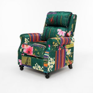 Fabric Green Patchwork Mary Recliner Chair